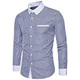 HET Herren Hemd Herren Mode Casual Männer Pure Color Taste Langarm Stehkragen Business Slim Fit Hemd Tops Bluse Fit Shirt Für Langarm (S, Marine)