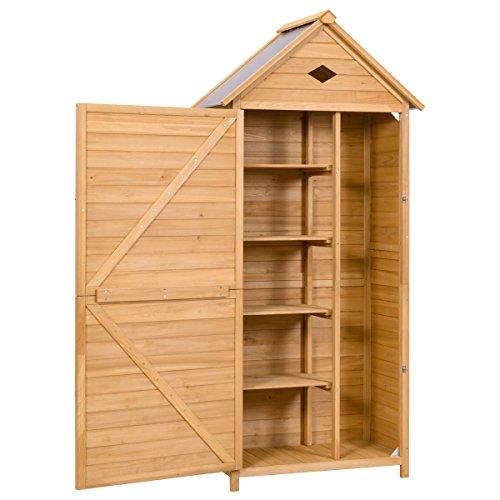 COSTWAY Holz Gerätehaus Geräteschuppen Geräteschrank Holzgerätehaus Gartenschrank Gartenhaus Holzschuppen Gartenschuppen mit Satteldach inkl. Riegelverschluss 178x70x36cm