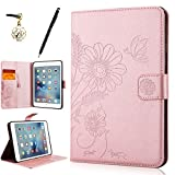HB-Int 3 in 1 Rose Gold PU Leather Case for iPad Mini 1 / 2 / 3 Stand Function Cover Flip Wallet Card Slots Book Style Holster Bling Flowers Butterfly Printing Magnetic Closure Protective Bumper Cute Pink Full Body Soft Silicone Shell + Stylus Pen + Dust Plug