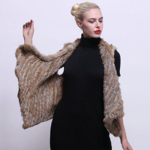 URSFUR Femme Gilet/Manteau En Fourrure De Lapin Pull Sans Manche Hiver Brun