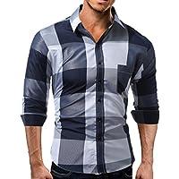 WWricotta Camisetas Hombre Manga Larga Estampado de la Tartán Color de Hechizo Slim Fit Streetwear Negocio Casual Camisas Formales