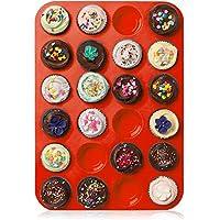 ZUOAO Piastra Antiaderente per Muffin Stampo per Torta in Silicone Cupcakes Baking Tray Mini Naturali Muffin Piccola Piastra con Coltello Plastica (24 Tazze) - Dozzina Muffins