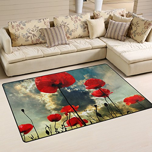 Mohn Roten Teppich (BENNIGIRY Poppy rot Rutschfeste Bereich Teppich Pad Teppichunterlage für Harte Böden, Rutschfeste Teppich Matte Teppich Untergrund für Wohnzimmer Schlafzimmer 152x 99cm (152,4x 99,1cm))