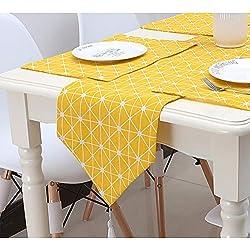 Camino de mesa amarillo de lino moderno para mesa de comedor estilo rústico, alfombra de ropa de mesa para la fiesta de boda en el hogar, One Color, 28 * 180cm