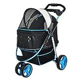 Haustier-Spaziergänger, drei Räder, Breathable, Hundewagen, faltbar, Cat Car, Pet Supplies (Farbe : Blau)