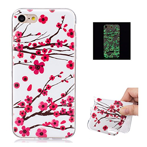 TPU Silicone Custodia per iPhone 7 Cover,per iPhone 8 Cover, ZCRO Custodia Silicone Morbido Flessibile Gomma Luminoso Creativo Disegno Colorate Modello Copertina Shell Case Ultra Sottile Slim Protetti Fiori
