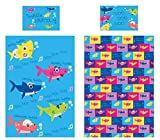 KidCollection - Juego de Cama Reversible con Funda de edredón para Cama Individual o Junior, diseño de tiburón, Single Duvet Cover