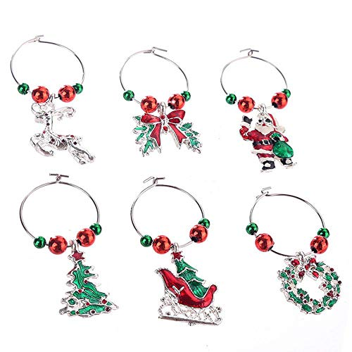 AOLVO Wein Glas Charms–6PCS Wein Anhänger Set Weihnachts-Weinglas Marker, Wein Glas Tags, Drink Marker, Drink Tags, Creative Bar Party C