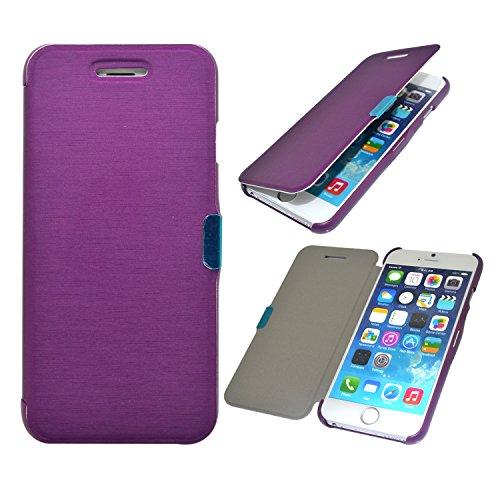 "iProtect Apple iPhone 6 (4,7"") 6s Hülle im ultra dünnen Bookstyle mit Magnetverschluss Kunstleder Wallet Case blau Slim Bookstyle Magnetisch Lila"