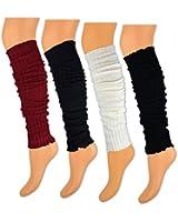 1 bis 4 Paar Damen Stulpen Beinstulpen Schwarz Weiß Lila Rot - Strick Design - 17770 - sockenkauf24