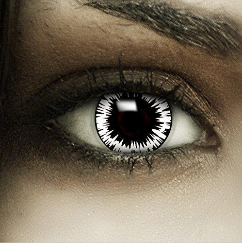 Farbige weiß schwarze Kontaktlinsen 'Wormhole' + Kunstblut Kapseln + Behälter von FXCONTACTS®, weich, ohne Stärke als 2er Pack - perfekt zu Halloween, Karneval, Fasching oder Fasnacht