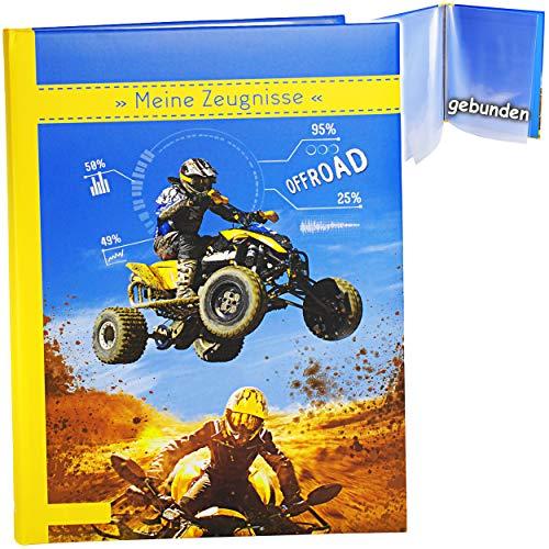 Preisvergleich Produktbild 2 Stück _ A 4 - Zeugnismappen / Dokumentenmappen - Meine Zeugnisse _ Quad / ATV - Offroad - GEBUNDEN mit Festen Seiten - A4 - Softcover - für Kinder u..