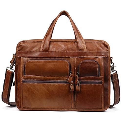 Preisvergleich Produktbild Ysprings Herren Aktentasche aus Leder Laptoptasche Umhängetasche Umhängetasche Umhängetasche für 15,6 Zoll Laptop (Color : Brown)