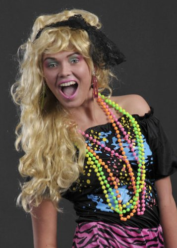 80er Jahre Kostüm Neon Perlenketten -