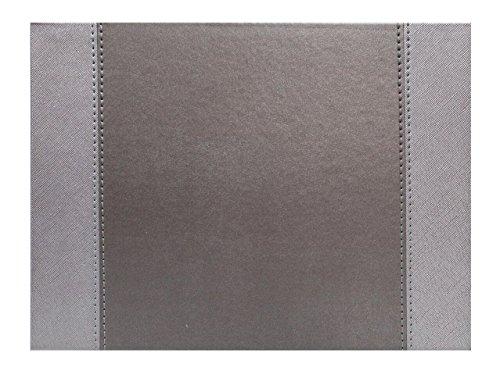 Lot de 4 en simili cuir Argenté Stitch rectangulaire Sets de table Sets de table réversibles