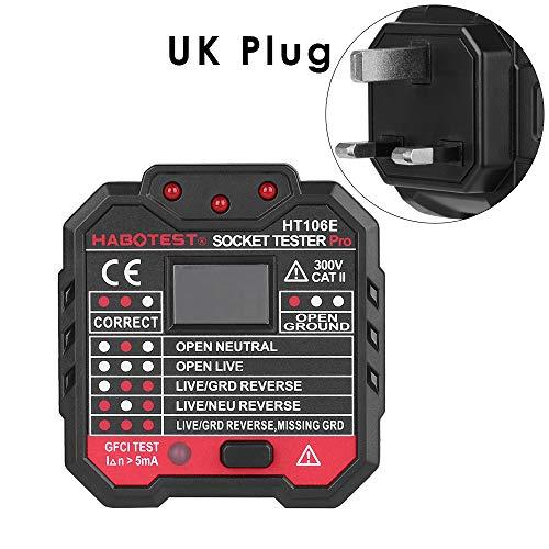 jumpeasy neue elektrowerkzeug elektriker lieferungen test fehlfunktion detektor leitungen schuld checker die digitale anzeige stecker socket tester (UK Plug)