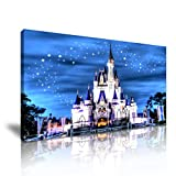 Disney Castle Starry Night Canvas Art Wand Bild Print 82 cm x 41 cm