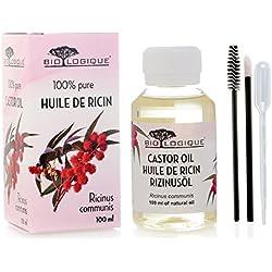 Aceite de ricino - Aceite pureza 100% prensado en frío - Estimula el crecimiento del cabello, las pestañas y las cejas, refuerza las uñas, gran remedio para la piel de la cara y del cuerpo - con kit de aplicador de tratamiento - 100 ml