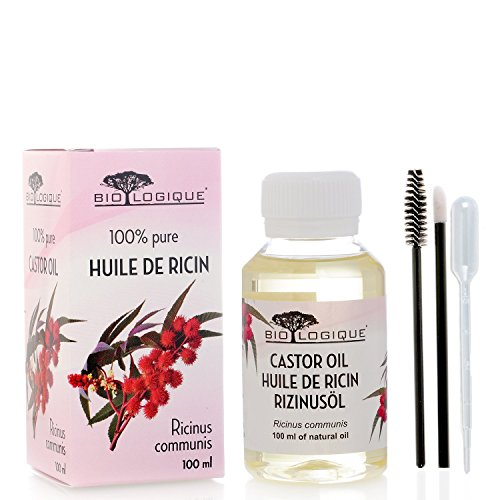 Olio di ricino - olio 100% puro spremuto a freddo - stimola la crescita dei capelli, ciglia e sopracciglia, rinforza le unghie. È un ottimo rimedio per la tua pelle. Con un set di applicatori - 100 ml