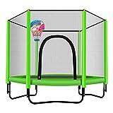 Trampolin, Trampolin für Kinder 150cm Indoor/Outdoor Trampolin mit Umschließungsnetz Basketballkorb - Max Load 225KG (Farbe : Green)