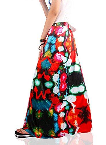 Niseng Damen Drucken Maxi Rock Sommer Casual Blumen Drucken Strand Lang Rock Stil 14#