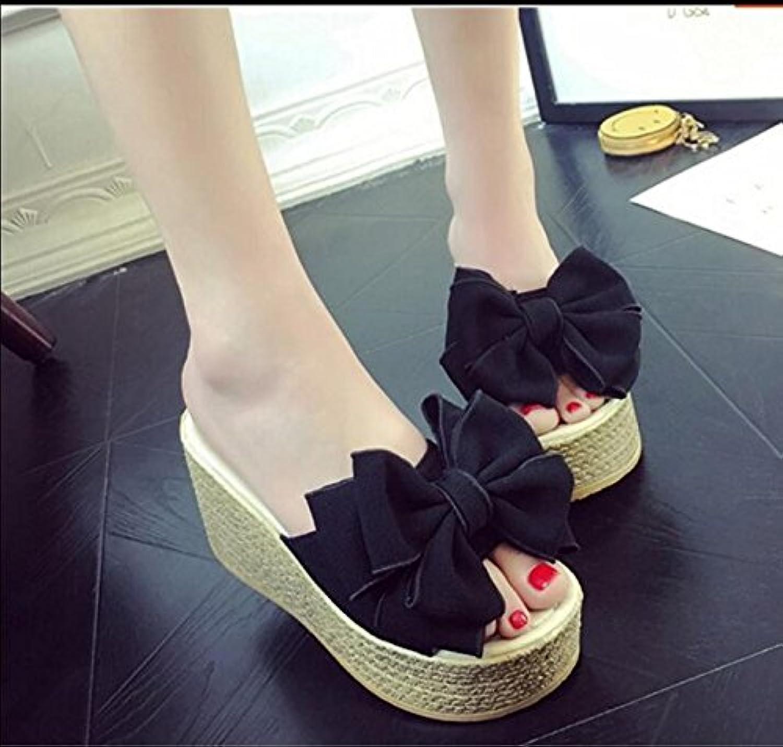 KHSKX-Nero 9Cm Di Spessore Spessore Spessore Di Sandali Con Pendenza Pantofole Femmina La Versione Coreana Di Moda Estate Usura... | Nuovo Stile  fcf54e