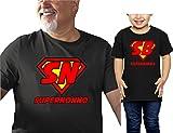 Coppia t-Shirt Nonno Nipote Festa dei Nonni-Super Nonno Super Bimba- Tutte Le Taglie - in Cotone