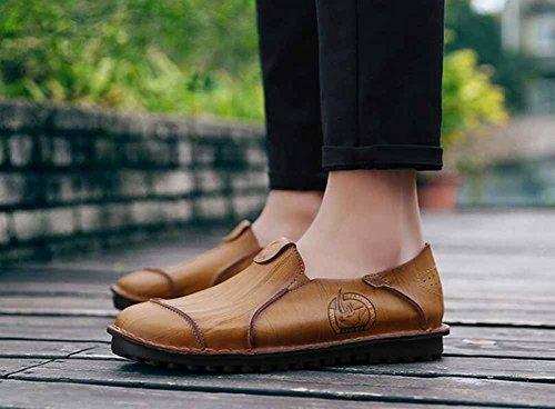 Uomini Autunno Nuovi Pattini Di Cuoio Casuale Scarpe Daffari Respirabili Scarpe di Trend di Moda Britannica Yellow