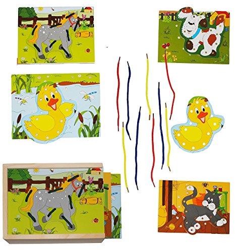Fädelspiel / Fädelpuzzle aus Holz - Tiere - Holzpuzzle - fädeln lernen / Motorikspiel - Motorik - Sticken ohne Nadel - Fädelset - für Kinder / Mädchen Jungen - Bauernhof Tier - Puzzle (Mädchen-nadel)