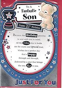 Son 21st Birthday Card To A Fantastic Son Happy 21st