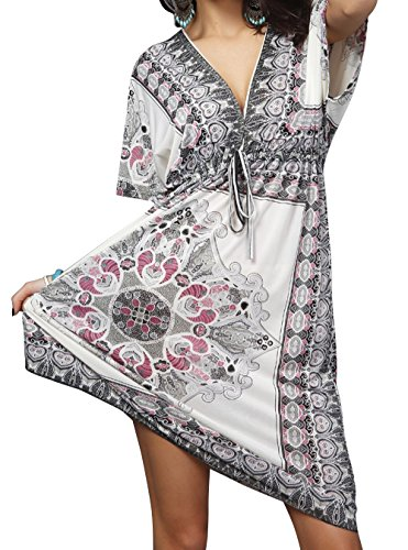 EasyMy Damen V-Ausschnitt Pareos & Strandkleider ertuschung Kleid Strand Rock Weiß