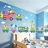 Baby-Kind-Safari-Tier-Zug-Wand-Aufkleber Nursery Dekor-Kunst-Wand Removable