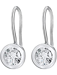 Rafaela Donata Damen-Ohrhänger 925 Silber rhodiniert Zirkonia weiß - Silber-Ohrringe mit Haken und Zirkonia rund farblos 60903033
