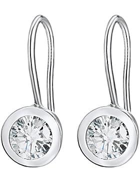 Rafaela Donata Damen-Ohrhänger 925 Silber rhodiniert Zirkonia Rundschliff weiß 60903033