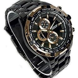CURREN Sport Luxury Quartz Hours Clock Black Stainless Men Wrist Watch WV008