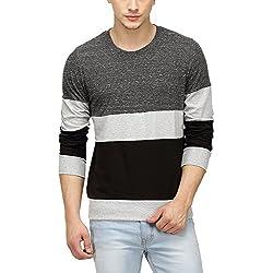 Campus Sutra Men Tri Colour Full Sleeve T-Shirt(SS16PRM_RNFSTRI_M_PLN_CHGRBL_XL)