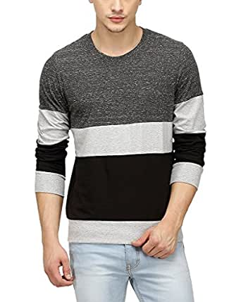 Campus sutra men tri colour full sleeve t shirt for Mens full sleeve t shirts online