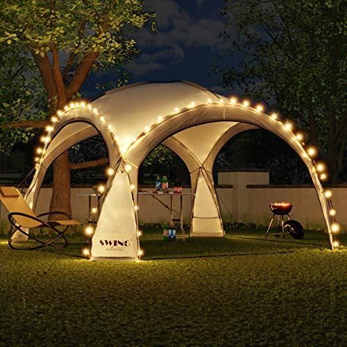 Swing & Harmonie LED Event Pavillon 3,6 x 3,6m DomeShelter Garten Pavillion inkl. Solarmodul Pavilion Designer Gartenzelt Camping Pavilon Partyzelt mit Beleuchtung (Anthrazit)