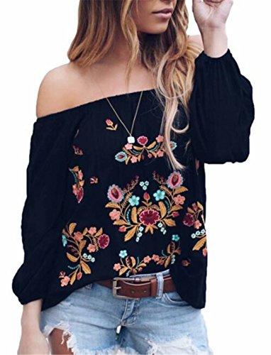 EGELEXY Damen Sexy Schulterfreies Top, langärmelig, Boho Blumen-Stickerei, Casual Bluse Shirt Gr. XXL, Schwarz (Stickerei Shirt)