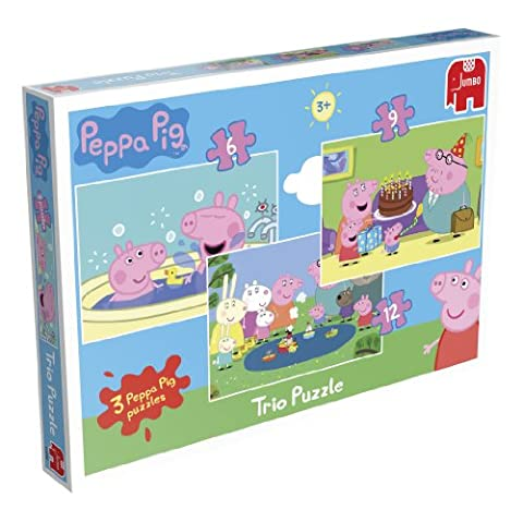 Peppa Pig Trio - 3 Jigsaw Puzzles in a Box (6, 9 and 12 Pieces)