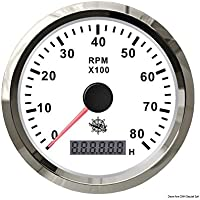 Osculati 27.327.03 - Contagiri 0-6000 RPM bianco/lucida (Revolution counter 0-6000 RPM white/glossy)