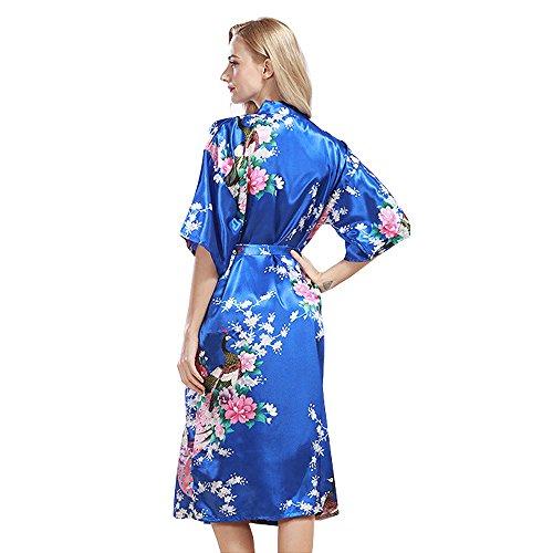 Accappatoi Pigiama Vestaglie Kimono Donna per Spa in Raso Con Cintura Lungo Camicia da Notte con Cintura Stampa Pavone y Fiore lago Blu