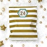 Adventskalender zum Befüllen 'Bunte Weihnacht' - 24 gold Tüten und