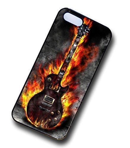 Sticar-it Ltd Fantastico Fiammeggiante Chitarra Elettrica Grunge Pietra Metallo Blues Disegno resistente Cutodia Per Apple iPhone 4 4s