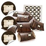 24 kleine Geschenkschachteln Geschenk-Boxen Kartons 14,5 x 10,5 cm + 3 cm hoch Holz Optik braun + Aufkleber Etikett + Strich braun beige Ø 4 cm zum selber basteln und befüllen