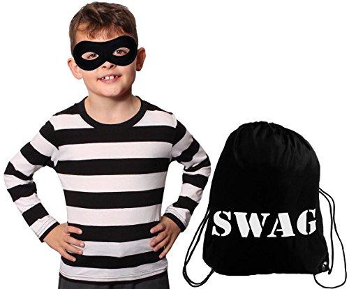 (ILOVEFANCYDRESS EINBRECHER Gangster VERKLEIDUNG KOSTÜM Kinder=T-Shirt=Baumwolle+Schwarze Augenmaske+Swag Beutel=Fasching KARNEVALSMALL)