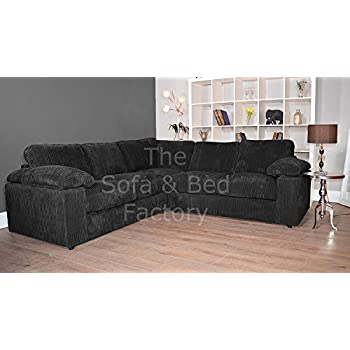 Ruxley Large Fabric 5 Seater Corner Sofa - 2 Corner 2 - Black (2 Corner 2)