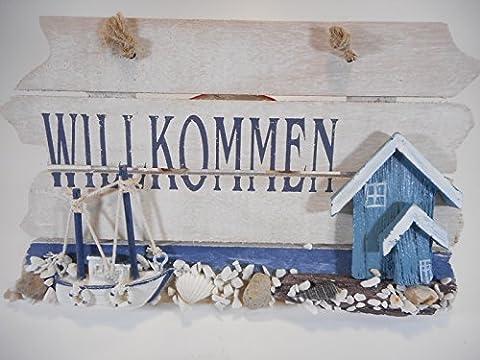 Willkommen Schild Boot Schiff 22 cm Möwe Beach Maritim Wohnen