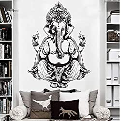 Extraíble Impermeable Etiqueta de La Pared Arte de Vinilo Etiqueta de La Pared Decoración para El Hogar Tatuajes de Pared Ganesh Buddha Elefante Om Yoga Mandala Hindú55 * 77 cm
