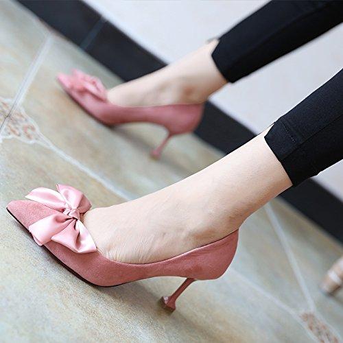 FLYRCX Creative semplice personalità del mondo della moda di nodo a farfalla belle scarpe tacco ladies primavera e autunno scarpe singolo B